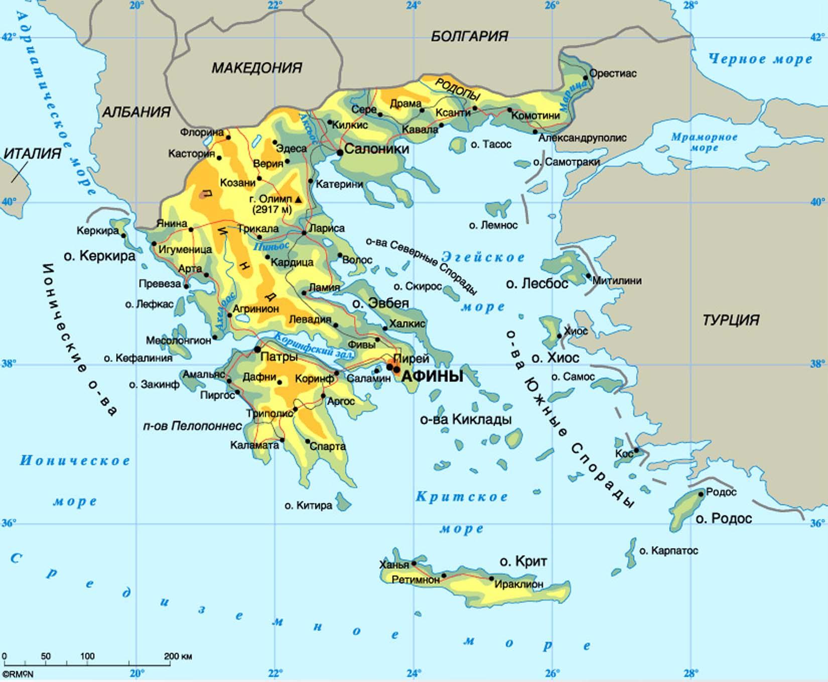 карта Греции с островами и курортами на русском