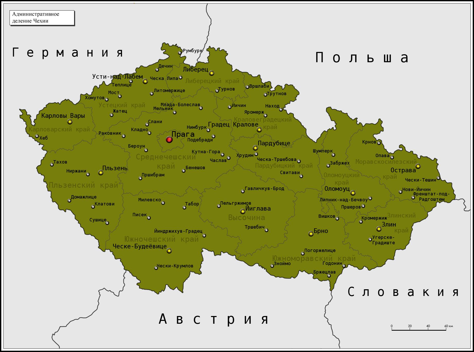 Южная чехия карта